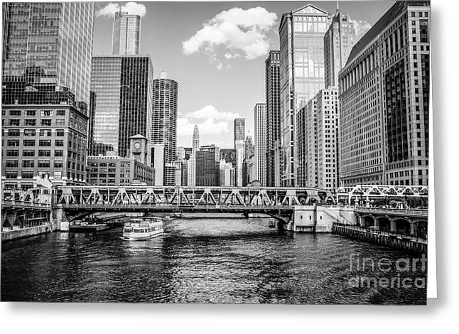 Riverfront Greeting Cards - Chicago Wells Street Bridge Black and White Picture Greeting Card by Paul Velgos