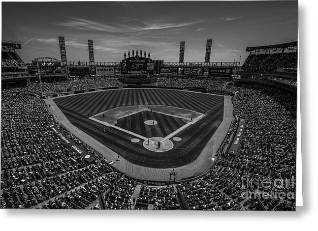 Chicago Bulls Greeting Cards - Chicago White Sox 8677 BW Greeting Card by David Haskett