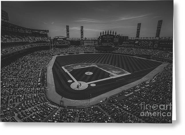 Chicago Bulls Greeting Cards - Chicago White Sox 8693 BW Greeting Card by David Haskett