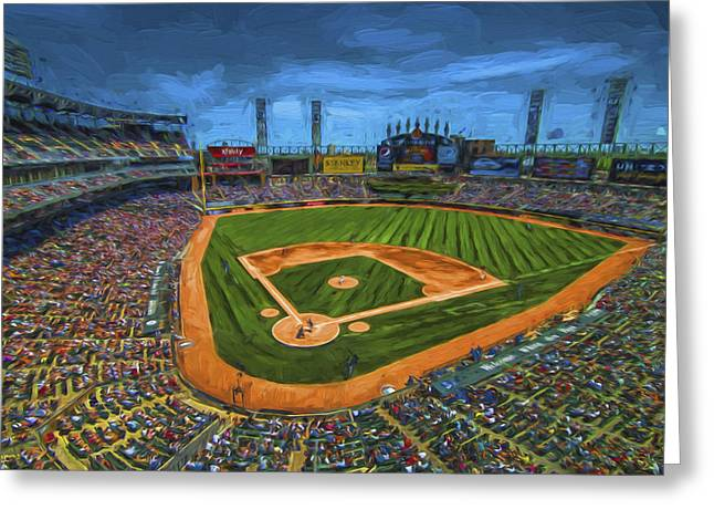 The Bean Greeting Cards - Chicago White Sox Painted Digitally US Cellular Field Greeting Card by David Haskett