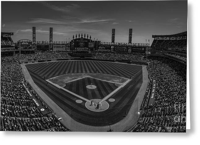 Chicago Bulls Greeting Cards - Chicago White Sox Pano 1 BW Greeting Card by David Haskett