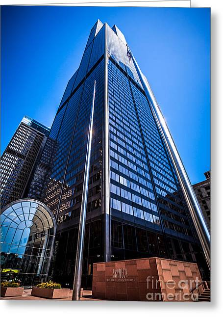 Editorial Greeting Cards - Chicago Willis Sears Tower High Resolution Picture Greeting Card by Paul Velgos