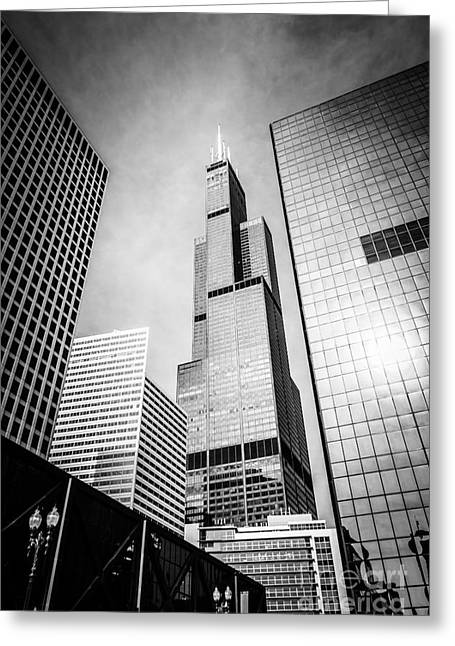 Tower Greeting Cards - Chicago Willis-Sears Tower in Black and White Greeting Card by Paul Velgos