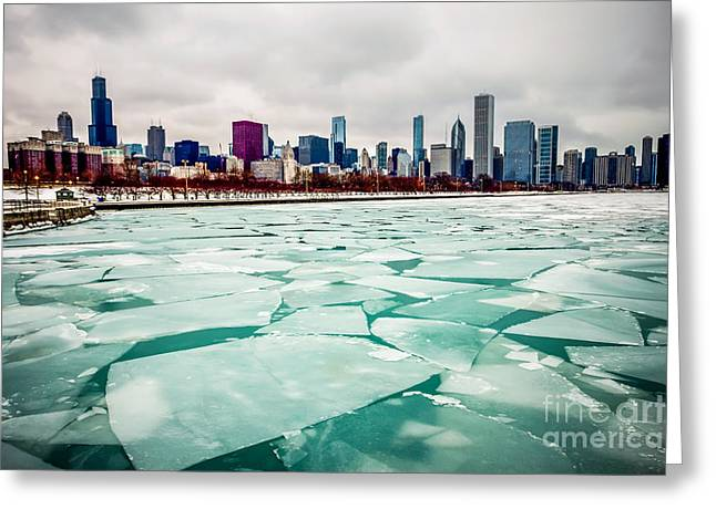 Chicago Winter Skyline Greeting Card by Paul Velgos