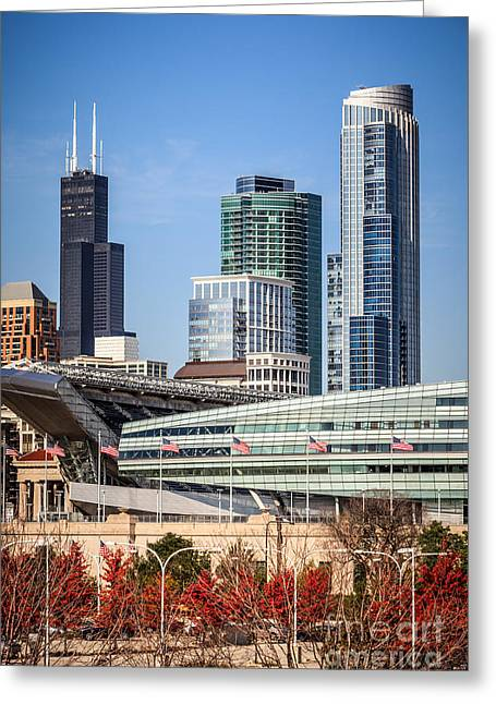 Venue Greeting Cards - Chicago with Soldier Field and Sears Tower Greeting Card by Paul Velgos
