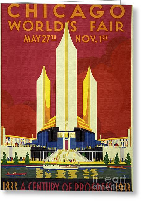 1933 Mixed Media Greeting Cards - Chicago world fair a century of progress expo poster  1933 Greeting Card by R Muirhead Art