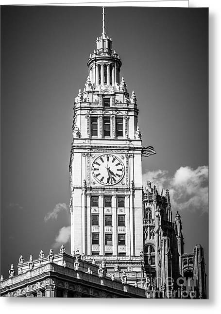 Clock Greeting Cards - Chicago Wrigley Building Clock Black and White Picture Greeting Card by Paul Velgos