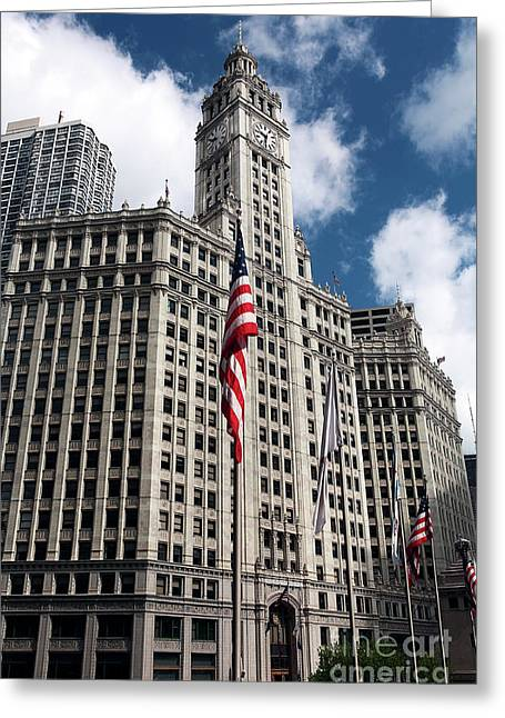 Chicago Artist Greeting Cards - Chicago Wrigley Building Greeting Card by John Rizzuto