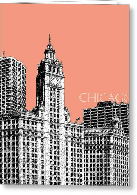 Salmon Digital Greeting Cards - Chicago Wrigley Building - Salmon Greeting Card by DB Artist