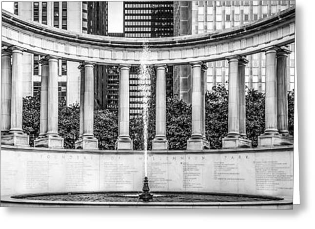 Greek Sculpture Greeting Cards - Chicago Wrigley Square Millennium Monument Panorama Photo Greeting Card by Paul Velgos
