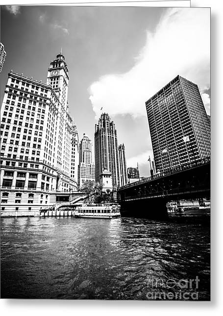 Michigan Greeting Cards - Chicago Wrigley Tribune Equitable Buildings Black and White Phot Greeting Card by Paul Velgos