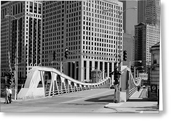 Chicago's Bascule Bridge 1986 Greeting Card by Mountain Dreams
