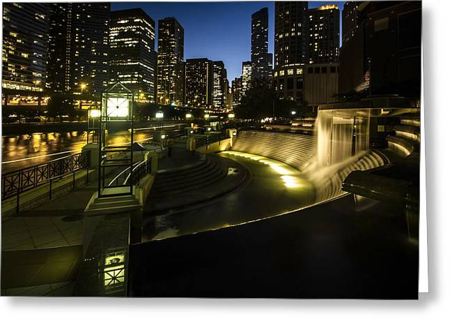 Hyatt Hotel Greeting Cards - Chicagos centennial fountain and skyline Greeting Card by Sven Brogren