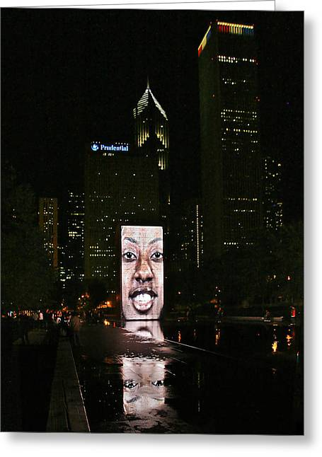 Face Greeting Cards - Chicagos Crown Fountain at night Greeting Card by Christine Till