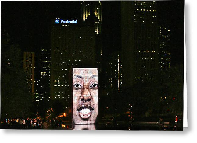 Chicago's Crown Fountain at night Greeting Card by Christine Till