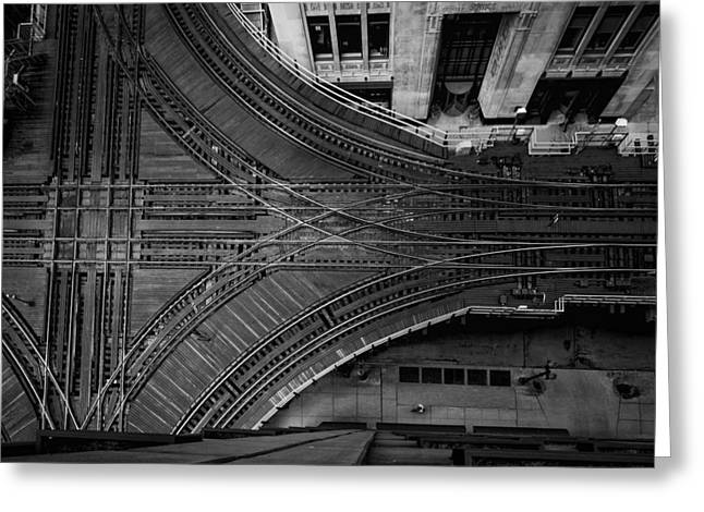Metra Greeting Cards - Chicagos Elevated Intersection Greeting Card by Mike Burgquist