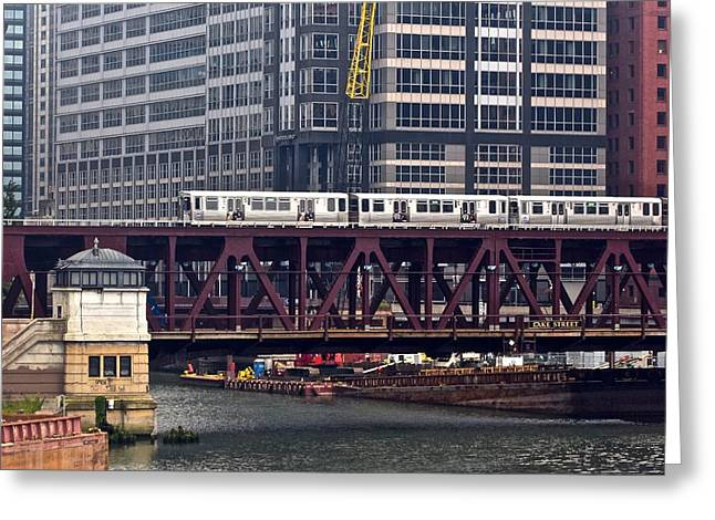 Riverwalk Greeting Cards - Chicagos Elevated Train Greeting Card by Frozen in Time Fine Art Photography