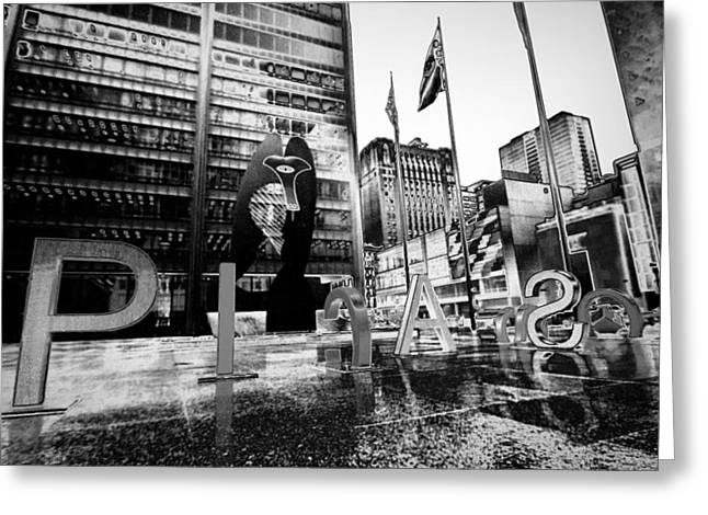 Daley Plaza Greeting Cards - Chicagos Picasso in Black and White Greeting Card by Sven Brogren