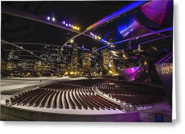 Winter Night Greeting Cards - Chicagos Pritzker Pavillion with colored lights  Greeting Card by Sven Brogren