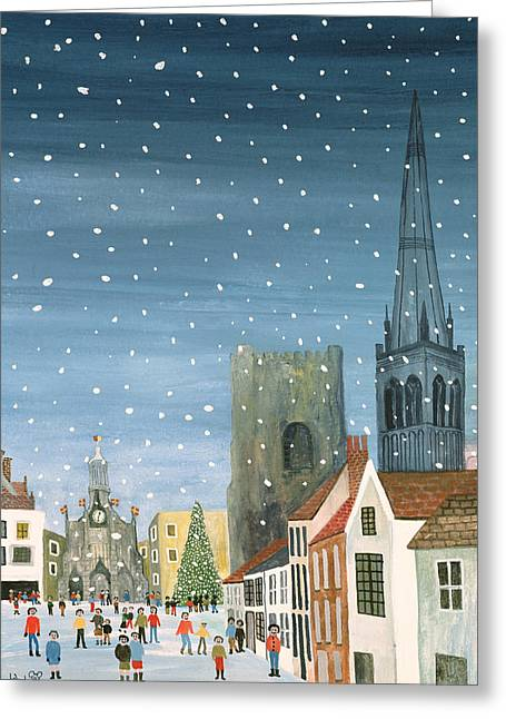 Winters Greeting Cards - Chichester Cathedral A Snow Scene Greeting Card by Judy Joel