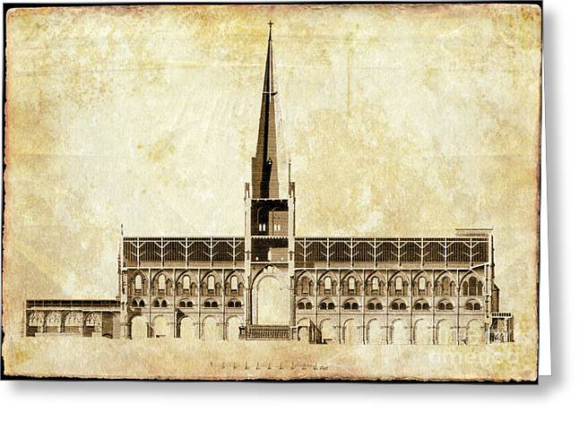 Ecclesiastics Greeting Cards - Chichester Cathedral drawing Greeting Card by Rod Jones