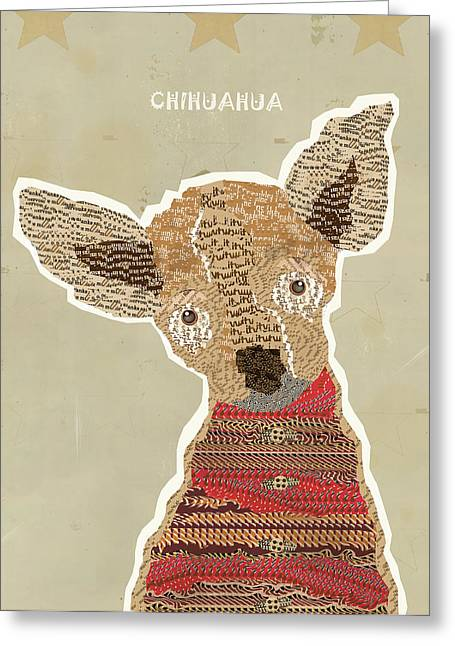 Chihuahua Portraits Greeting Cards - Chichuahua Greeting Card by Bri Buckley