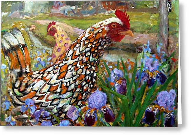 Vermont Rooster Greeting Cards - Chick and Iris Greeting Card by Paul Emory