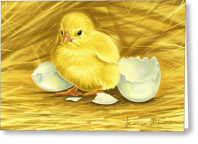 Chick Greeting Cards - Chick Greeting Card by Veronica Minozzi