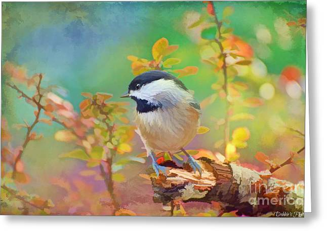 Chickadee Greeting Cards Greeting Cards - Chickadee and the Hiding Caterpillar - Digital Paint 1 Greeting Card by Debbie Portwood