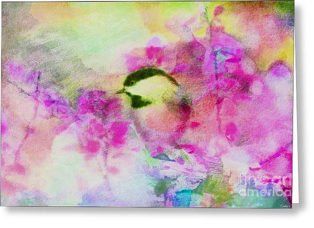 Chickadee Greeting Cards Greeting Cards - Chickadee and the Hiding Caterpillar - Digital Paint 6 Greeting Card by Debbie Portwood