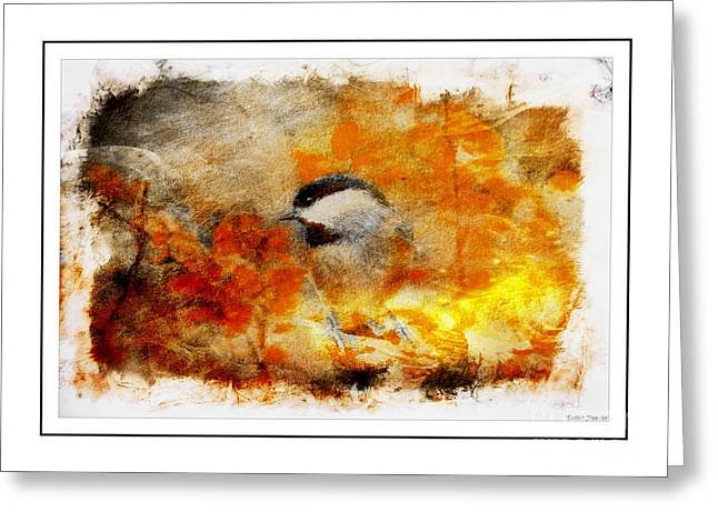 Chickadee Greeting Cards Greeting Cards - Chickadee and the Hiding Caterpillar - Digital Paint 7 Greeting Card by Debbie Portwood