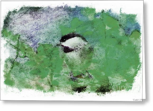 Chickadee Greeting Cards Greeting Cards - Chickadee and the Hiding Caterpillar - Digital Paint 8 Greeting Card by Debbie Portwood