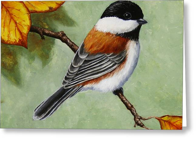 Song Birds Greeting Cards - Chickadee - Autumn Charm Greeting Card by Crista Forest