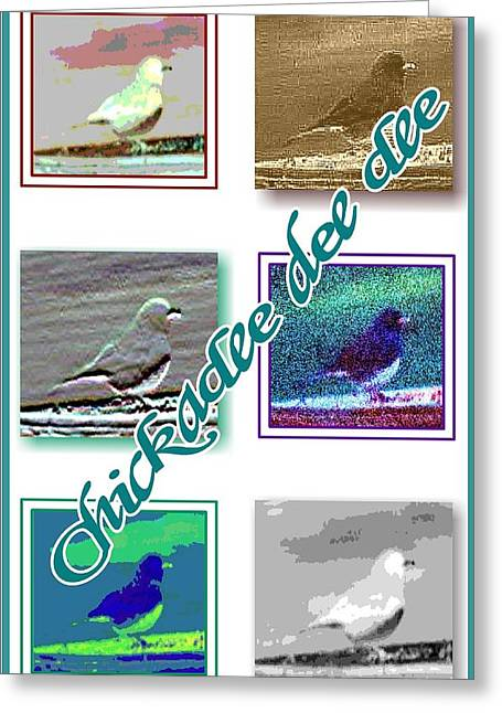 Floral Digital Drawings Greeting Cards - Chickadee Greeting Card by Becky Sterling
