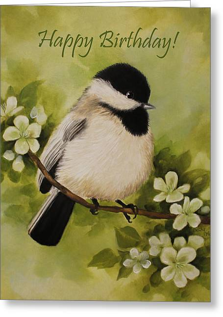 Becky Greeting Cards - Chickadee Greeting Card by Becky West