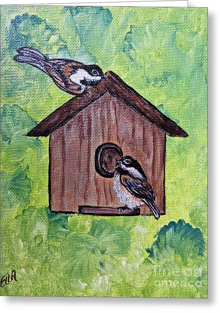 Chickadee Birds - Garden Home For Two - Painting Greeting Card by Ella Kaye Dickey