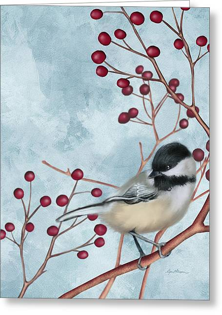 Red Berries Greeting Cards - Chickadee I Greeting Card by April Moen