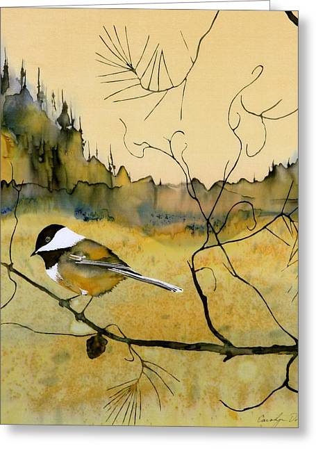 Wax Greeting Cards - Chickadee In Dancing Pine Greeting Card by Carolyn Doe