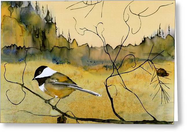 Chickadee In Dancing Pine Greeting Card by Carolyn Doe