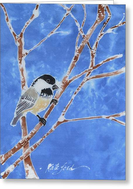Birds Tapestries - Textiles Greeting Cards - Chickadee Greeting Card by Kate Ford