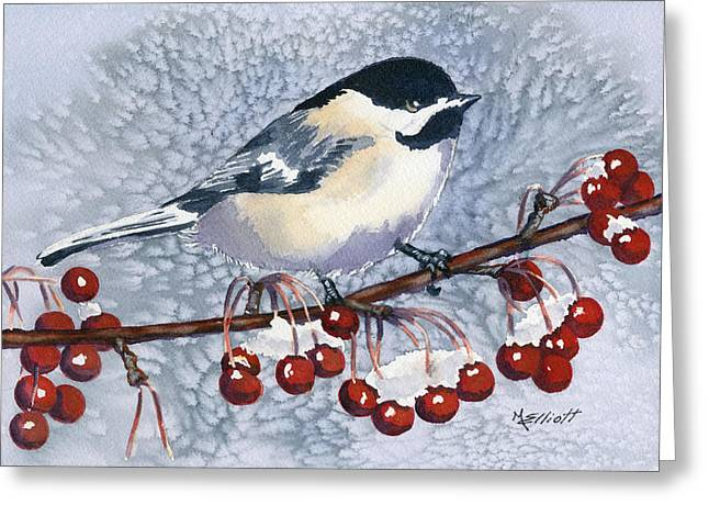 Chickadee Greeting Card by Marsha Elliott