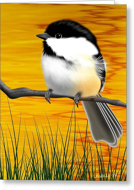 Birds On A Branch Greeting Cards - Chickadee on a branch Greeting Card by John Wills