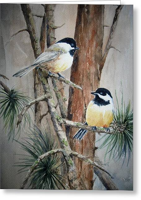 Chickadee Greeting Cards Greeting Cards - Chickadee Pair Greeting Card by Marilyn  Clement