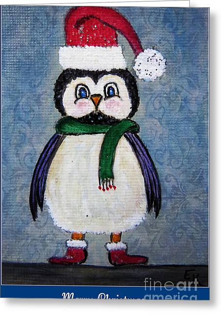 Black Boots Mixed Media Greeting Cards - Chickadee Santa Claus - Merry Christmas Greeting Card by Ella Kaye Dickey