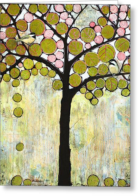 Landscape Mixed Media Greeting Cards - Chickadee Tree Greeting Card by Blenda Studio