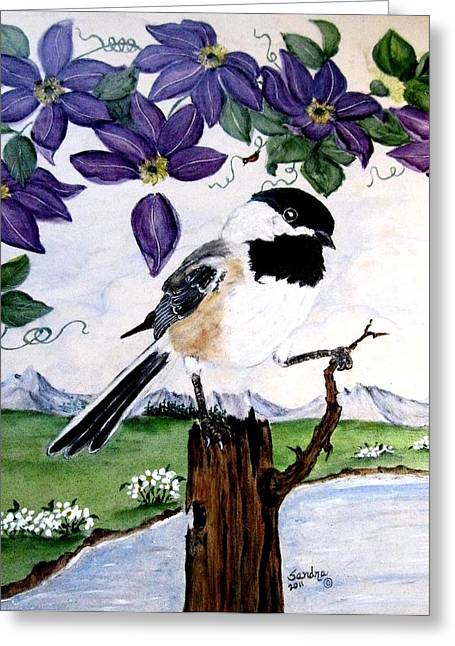 Mountains Ceramics Greeting Cards - Chickadee with Blue Clematis Greeting Card by Sandra Maddox