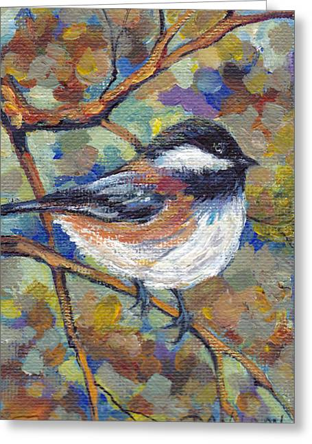 Saddleback Greeting Cards - Chickadee with Coppery Branches Greeting Card by Peggy Wilson