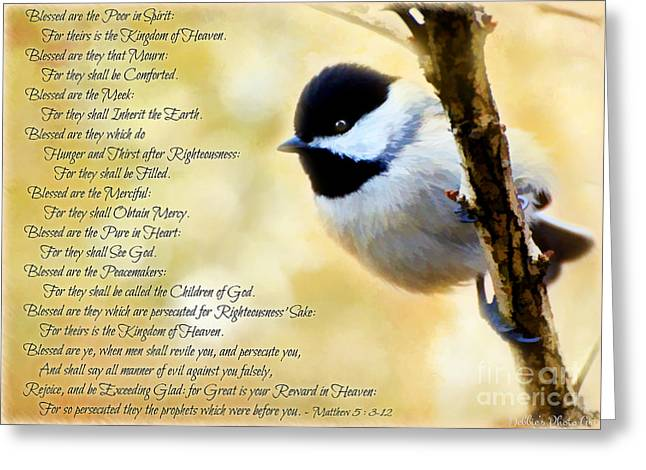 Chickadee Greeting Cards Greeting Cards - Chickadee with Digital Paint and verses Greeting Card by Debbie Portwood