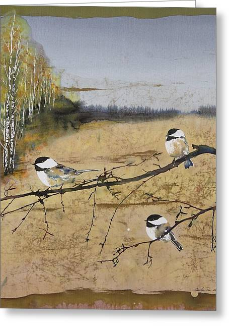 Brown Tapestries - Textiles Greeting Cards - Chickadees and a row of Birch Trees Greeting Card by Carolyn Doe