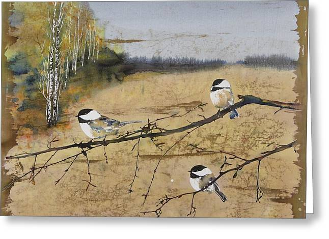 Chickadees and a row of Birch Trees Greeting Card by Carolyn Doe